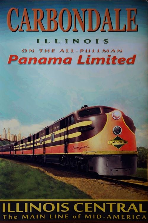 Carbondale Illinois on the All-Pullman Panama Limited Poster